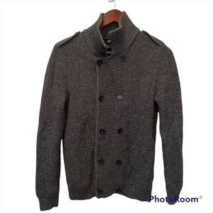 H&M men's grey button front sweater/jacket size small EUC